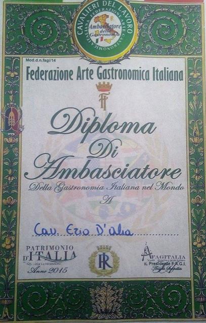 diploma di ambasciatore della cucina italiana