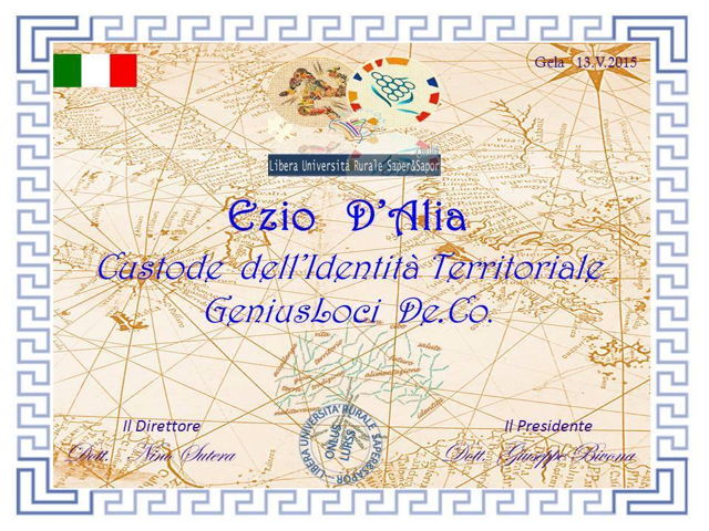 diploma di custode dellIdentità Territoriale DAlia